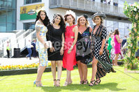Press Eye - Belfast - Northern Ireland - 22nd June 2019 - . Summer Festival Of Racing Day 2 at Down Royal Racecourse.. Monika Miegeowska, Chiava Campus, Nuala Malone, Amy Curran and Louise Curran pictured at Down Royal Racecourse.. Photo by Kelvin Boyes / Press Eye.