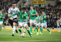 PressEye-Northern Ireland- 9th September  2019-Picture by Brian Little/PressEye. Northern Ireland Jamel Lewis    and Germany Niklas Sule    during Monday\'s  European Championship Qualifying Group C match  at the National  Football Stadium at Windsor Park,Belfast.. Picture by Brian Little/PressEye .