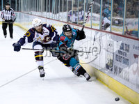 Press Eye - Belfast -  Northern Ireland - 03rd February 2019 - Photo by William Cherry/Presseye. Belfast Giants\' David Rutherford with Guildford Flames\' Corbin Baldwin during Friday nights Elite Ice Hockey League game at the SSE Arena, Belfast.   Photo by William Cherry/Presseye