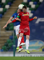 Press Eye - Belfast, Northern Ireland - 29th October 2019 - Photo by William Cherry/Presseye. Linfield\'s Jamie Mulgrew with Cliftonville\'s Rory Donnelly during Tuesday nights BetMcLean League Cup game at Windsor Park, Belfast.     Photo by William Cherry/Presseye