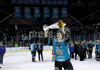 Press Eye - Belfast -  Northern Ireland - 06th April 2019 - Photo by William Cherry/Presseye. Belfast Giants\' Paul Swindlehurst pictured with the Elite Ice Hockey League trophy after being crowned Champions at the SSE Arena, Belfast.       Photo by William Cherry/Presseye