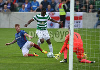PressEye-Northern Ireland- 14th July  2017-Picture by PressEye. Linfield  Chris Casement    and Celtic  Moussa Dembele     during  Friday\'s UEFA Champions League Qualifier Round 2 (First Leg) match  at Windsor Park.. Picture by PressEye  .