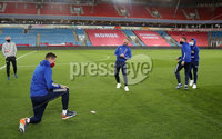 Press Eye - Belfast, Northern Ireland - 13th October 2020 - Photo by William Cherry/Presseye. Northern Ireland\'s Kyle Lafferty, Niall McGinn, Stuart Dallas and Jordan Jones during Tuesday nights walk around the Ullevaal Stadium pitch at ahead of Wednesdays UEFA Nations League game against Norway in Oslo. Photo by William Cherry/Presseye