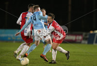 Danske Bank Premiership, Showgrounds, Ballymena. 14/2/2020. Ballymena United  vs Linfield FC. Ballymena United\'s Andrew Burns  and  Jordan Stewart  of Linfield.. Mandatory Credit  INPHO/Brian Little