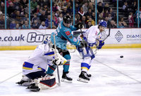 Press Eye - Belfast, Northern Ireland - 06th March 2020 - Photo by William Cherry/Presseye. Belfast Giants\' Bobby Farnham with Fife Flyers\' Adam Morrison during Friday nights Elite Ice Hockey League game at the SSE Arena, Belfast.   Photo by William Cherry/Presseye