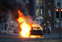 Press Eye - Belfast - Northern Ireland - 11th July  2018 . A car burns in in East Belfast this evening on the Upper Newtownards Road.. It comes after the PSNI issued a notice informing the public that paramilitaries intend to orchestrate serious disorder against police officers on the Eleventh night.. Photo by Kelvin Boyes / Press Eye..