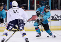 Press Eye - Belfast -  Northern Ireland - 24th August 2019 - Photo by William Cherry/Presseye . Belfast Giants\' Liam Reddox with Herning Blue Fox\'s Sean Flanagan during Saturday nights Exhibition Game at the SSE Arena, Belfast.    Photo by William Cherry/Presseye