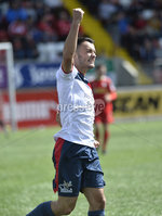 Press Eye Belfast - Northern Ireland 12th August 2017. Danske Bank Irish Premier league match between Cliftonville and Ards at Solitude Belfast.. Ards Johnny Frazer celebrates after scoring to make it 1-0.  Photo by Stephen  Hamilton / Press Eye