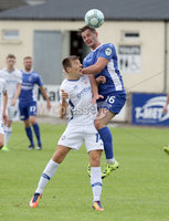 Press Eye - Danske Bank Premiership  - 12th August 2017. Dungannon Swifts v Coleraine. Photograph By Declan Roughan. Dungannons Swifts Seanan Clucas. Coleraine's Brad Lyons