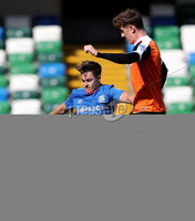 Press Eye - Belfast -  Northern Ireland - 12th August 2017 - Photo by William Cherry/Presseye. Linfield\'s Jordan Stewart with Carrick\'s Patrick McNally during Saturdays Danske Bank Premiership game at the National Stadium at Windsor Park, Belfast.