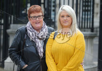 Press Eye - Belfast - Northern Ireland - 1st October 2018. Belfast woman Sarah Ewart takes her legal case back to the High Court in Belfast to challenge the abortion laws in Northern Ireland.  Five years ago Ms Ewart was forced to travel to England for a termination after being told her unborn child had no chance of survival.. Left to right.  Sarah Ewart and her mother Jane Christie pictured leaving the High Court today. . Picture by Jonathan Porter/PressEye