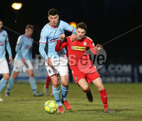 Danske Bank Premiership, Ballymena United vs Cliftonville, The Ballymena Showgrounds, Co. Antrim . 3/4/2018 . Ballymena United\'s Johnny. Flynn in action with Cliftonville\'s Tomas. Cosgrove. Mandatory Credit ©INPHO/Matt Mackey