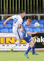 Press Eye - Danske Bank Premiership  - 12th August 2017. Dungannon Swifts v Coleraine. Photograph By Declan Roughan. Dungannon Swifts Jarlath O\'Rourke. Coleraines Eoin Bradley