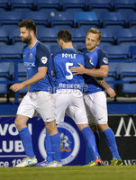 Danske Bank Premiership, Mourneview Park, Armagh 8/9/2017. Glenavon vs Carrick Rangers . Glenavon\'s Sammy Clinghan celebrates scoring a penalty with teammates. Mandatory Credit ©INPHO/Stephen Hamilton