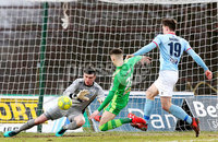 Bet McLean Cup Semi-Final, Showgrounds, Co. Antrim 10/2/2018. Ballymena United vs Cliftonville. Ballymena\'s Ross Glendinning with Cliftonville\'s Jay Donnelly. Mandatory Credit ©INPHO/Jonathan Porter