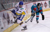 Press Eye - Belfast -  Northern Ireland - 09th February 2018 - Photo by William Cherry/Presseye. Belfast Giants Sebastien Sylvestre with Fife Flyers Chris Wands during Friday nights Elite Ice Hockey League game at the SSE Arena, Belfast.