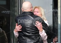 Press Eye Northern Ireland. Thursday 14th March 2019. Bloody Sunday families leaving the City Hotel following the briefing with the Department of Public Prosecutions.. Eamon McCann comforts Lina Nash.. Photo Lorcan Doherty/Presseye