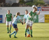 Press Eye - Belfast - Northern Ireland - 8th June. World Cup qualifier - Northern Ireland  v Netherlands at Shamrock Park Portadown.. Northern Irelands Rachel Furness  in action with Netherlands Shanice van de Sanden. Mandatory Credit: Presseye/Stephen Hamilton