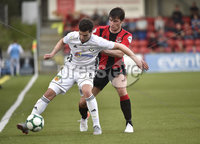 11th July 2019. Europa league First round qualifying match between Crusaders and B36 Torshavn at Seaview Belfast.. Crusaders Philip Lowry  in action with Torshavns Stefan Radosavievic. Mandatory Credit / Stephen Hamilton/Inpho