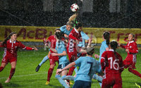 Press Eye - Belfast - Northern Ireland - 5th October 2019. European Women\'s U19 Championship 2020 Qualifying Round - Ballymena Showgrounds.  Northern Ireland Vs Moldova.. Northern Ireland captain Kelsie Burrows goes up for the ball. . Picture by Jonathan Porter/PressEye