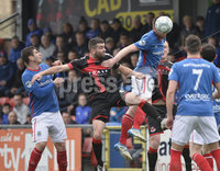 . Danske Bank Premiership Play-Off, Seaview, Belfast 14/4/2018 . Crusaders vs Linfield. Mandatory Credit ©INPHO/Stephen Hamilton. Crusaders Colin Coates  with Linfields Mark Haughey