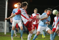 Danske Bank Premiership, Showgrounds, Ballymena. 14/2/2020. Ballymena United  vs Linfield FC. Ballymena United\'s Joseph McCread  and Jimmy Callacher  of Linfield.. Mandatory Credit  INPHO/Brian Little