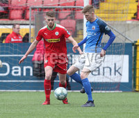 Danske Bank Premiership, Solitude, Belfast 14/4/2018 . Clliftonville vs Glenavon. Clliftonville\'s Rory. Donnelly in action with Glenavon\'s Rhys. Marshall. Mandatory Credit ©INPHO/Matt Mackey