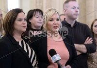 Presseye.com. 21/10/2019. Sinn Fein leaders Michelle ONeill and Mary Lou McDonald  pictured at Stormont after a day where local MLAs failed in an attempt to stop laws of abortion and same sex marriage coming into place at midnight tonight.. Mandatory Credit Stephen Hamilton /Presseye