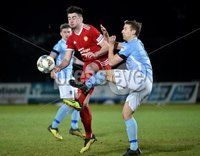 Tennent\'s Irish Cup Round 6, Windsor Park, Belfast 11/2/2019. Ballymena v Portadown. Ballymena\'s Johnny Addis  with Portadown\'s Aaron Duke. Mandatory Credit INPHO/Stephen Hamilton.