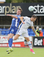 Press Eye - Danske Bank Premiership  - 12th August 2017. Dungannon Swifts v Coleraine. Photograph By Declan Roughan. Dungannon Swifts Seanan Clucas. Coleraines  Josh Carson