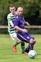 © Press Eye.com 12th August 2017. NIFL Championship 1. Lurgan Celtic v Newry City.. Celtic\'s Conor McAnallen. and Newry\'s Mark Patton. during Saturday\'s match at Knockramer Park. Photo by TONY HENDRON/Presseye.com