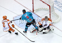 Press Eye - Belfast, Northern Ireland - 06th December 2019 - Photo by William Cherry/Presseye. Belfast Giants\' Lewis Hook with Sheffield Steelers\' Tomas Duba during Friday nights Elite Ice Hockey League game at the SSE Arena, Belfast.       Photo by William Cherry/Presseye
