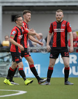 10th August 2019. Danske Bank Premiership.  Crusaders v Carrick Rangers at Seaview Belfast.. Crusaders Paul Heatley celebrates after he  lobs the ball over Aaron Hogg and runs on to score to make it 2-0 . Mandatory Credit : Stephen Hamilton/Inpho