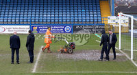 Danske Bank Premiership Play-Off, Mourneview Park, Co. Armagh 3/4/2018 . Glenavon vs Linfield. Mandatory Credit ©INPHO/William Cherry. The groundsman works hard to get the pitch fit for play during the referees pitch inspection.