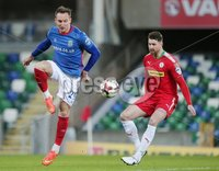 Tennent\'s Irish Cup Quarter-Final, Windsor Park, Belfast 13/3/2018 . Linfield vs Cliftonville. Linfield\'s Achille Campion with Garry Breen of Cliftonville. Mandatory Credit ©INPHO/Jonathan Porter