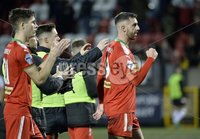 . Danske Bank Premiership, Solitude, Belfast 3/11/2018. Cliftonville vs Glentoran. Cliftonville player Joe Gormley celebrate at the final whistle. Mandatory Credit INPHO/Stephen Hamilton