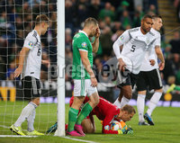 Press Eye - Belfast - Northern Ireland - 9th September 2019 . UEFA EURO Qualifier Group C at the National Stadium at Windsor Park, Belfast.  Northern Ireland Vs Germany. . Northern Ireland\'s Conor Washington has a chance on goal. . Photo by Jonathan Porter / Press Eye.
