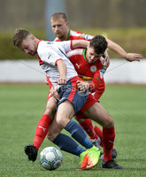 Press Eye Belfast - Northern Ireland 12th August 2017. Danske Bank Irish Premier league match between Cliftonville and Ards at Solitude Belfast.. Cliftonville\'s Tomas Cosgrove  in action with Ards David McAllister.  Photo by Stephen  Hamilton / Press Eye