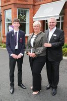 PressEye - Belfast - Northern Ireland - 12th September 2017. Pictured: Young golf star, Tom McKibbin, Northern Ireland Children\'s Hospice Ambassador, with Heather Weir CEO NI Hospice, and Eamonn Holmes, new NI Hospice Ambassador. . Picture: Philip Magowan / PressEye
