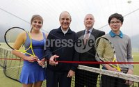 Northern Ireland- 21st March 2012 Mandatory Credit - Photo-Jonathan Porter/Presseye.  . During a brief visit back to the Province, keen tennis player, Senator George Mitchell officially opened the Belfast Boat Club 4 court dome.   A Democratic Senator in the Clinton administration George Mitchell played a leading role in peace negotiations here in Northern Ireland.  During this period he often played tennis at the Belfast Boat Club and with these fond memories he returned for a quick game together with his son Andrew.. Home to Northern Ireland's largest tennis club, the Belfast Boat Club            pioneered covered tennis when they erected the first three court dome in the country ten years ago.  That original membrane had to replaced this year so covering seven courts has been a considerable investment  of £200,000 for the club.. Boat Club Manager Doreen Brett commented, 'The Club hosts and competes in all the major tournaments, has a strong coaching academy and is gearing up to host the World Police and Fire games next year, so giving people the chance to play and train all year round is a necessity rather than a luxury.'. Photo:  Senator George Mitchell officially opens the 4 court dome at Belfast Boat Lynsey McCullough, Ulster's No One ladies tennis player, Greg Hamill, Captain Belfast Boat Club, Andrew Mitchell.. END. Any queries, please contact Ann Gorman Marketing 07787563854.