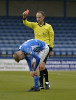 9th August 2019. Danske Bank Premiership. Mourneview Park, Lurgan. . Glenavon FC Vs Glentoran FC. Glenavon iRhys Marshall gets a red card. Mandatory Credit : Stephen Hamilton/Inpho