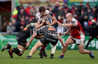 European Rugby Champions Cup Round 5, Kingspan Stadium, Belfast 13/1/2018. Ulster vs La Rochelle. La Rochelle\'s Victor Vito and Pierre Bourgarit tackle Iain Henderson of Ulster. Mandatory Credit ©INPHO/Tommy Dickson