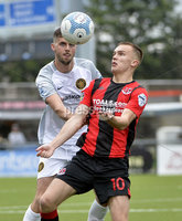 10th August 2019. Danske Bank Premiership.  Crusaders v Carrick Rangers at Seaview Belfast.. Crusaders Rory Hale  in action with Carricks Caolan Loughran. Mandatory Credit : Stephen Hamilton/Inpho