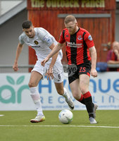 10th August 2019. Danske Bank Premiership.  Crusaders v Carrick Rangers at Seaview Belfast.. Crusaders Ross Clarke in action with Carricks Caolan Loughran . Mandatory Credit : Stephen Hamilton/Inpho