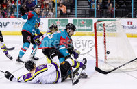 Press Eye - Belfast -  Northern Ireland - 11th February 2018 - Photo by William Cherry/Presseye. Belfast Giants Jonathan Ferland with Manchester Storm\'s Ryan Trenz during Sunday afternoons Elite Ice Hockey League game at the SSE Arena, Belfast.
