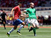 Press Eye - Belfast -  Northern Ireland - 03rd June 2018 - Photo by William Cherry/Presseye. Costa Rica\'s Oscar Duarte with Northern Ireland\'s Liam Boyce during Sunday mornings International Friendly at the Nuevo Estadio Nacional de Costa Rica in San Jose.   Photo by William Cherry/Presseye