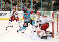 11 November 17, Mandatory Credit ©Press Eye/Darren Kidd.  Belfast Giants Jonathan Ferland with Cardiff Devils Ben Bowns during Saturday nights Elite League game at the SSE Arena, Belfast. Photo by Darren Kidd/Presseye