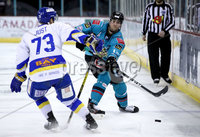 Press Eye - Belfast, Northern Ireland - 06th March 2020 - Photo by William Cherry/Presseye. Belfast Giants\' Curtis Leonard with Fife Flyers\' Kyle Just during Friday nights Elite Ice Hockey League game at the SSE Arena, Belfast.   Photo by William Cherry/Presseye