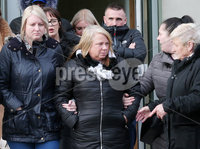 Press Eye - Belfast - Northern Ireland - 8th February 2019. . 33-year-old man appears in Belfast Magistrates Court charged with the murder of Ian Ogle.  The 45-year-old died after being assaulted by several people at Cluan Place area of east Belfast on Sunday 27th January.  . Mr Ogle\'s partner(centre) pictured leaving Belfast Laganside Courts. . Picture by Jonathan Porter/PressEye
