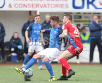 Danske Bank Premiership, Solitude, Belfast 14/4/2018 . Clliftonville vs Glenavon. Clliftonville\'s Shane. Grimes in action with Glenavon\'s Mark. Griffin. Mandatory Credit ©INPHO/Matt Mackey